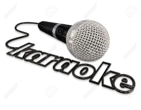 40881804 karaoke word in a microphone cord to advertise or illustrate a fun event with singing